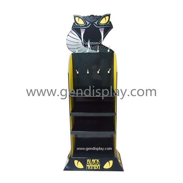 POS Cardboard Floor Display Shelf With Hooks For Gloves Promotion (GEN-FD298)