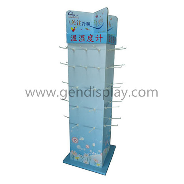 Custom Cardboard Hygrothermograph Display, Hooks Floor Display (GEN-HD067)
