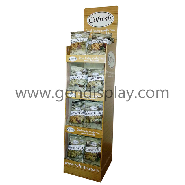 Cardboard Snacks Floor Display Shelf, Pos Foods Display Stand(GEN-FD307)