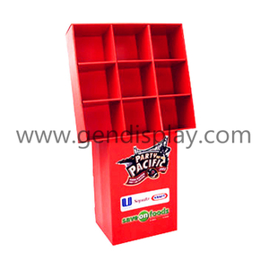 Promotional Nine Pockets Cardboard Floor Foods Display Stand (GEN-CP160)