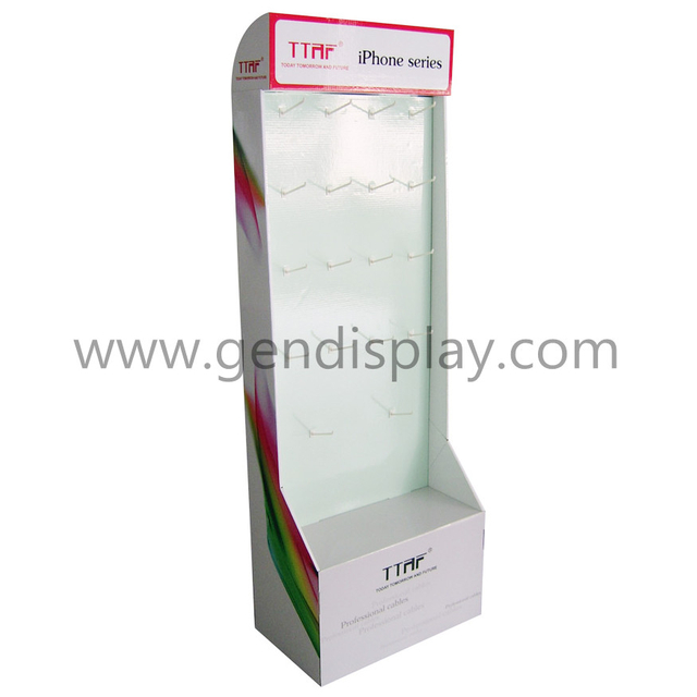 Promotional Cardboard Iphone Series Hooks Display Stand (GEN-HD066)
