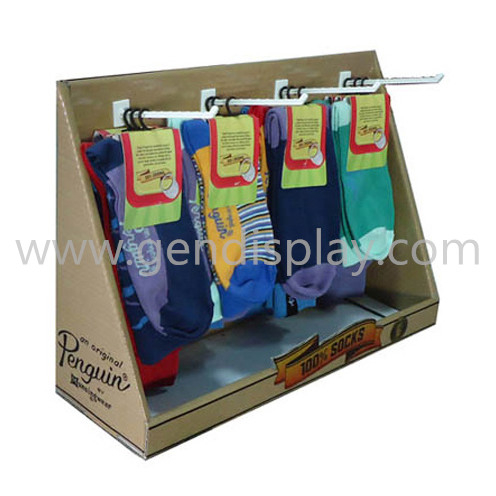Retail Pos Cardboard Counter Display With Hooks For Socks(GEN-CD226)