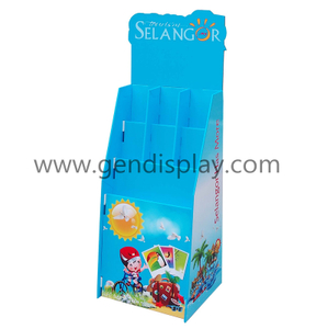 POS Cardboard Floor Display Stand With Plastic Clips For Brochures (GEN-FD276)