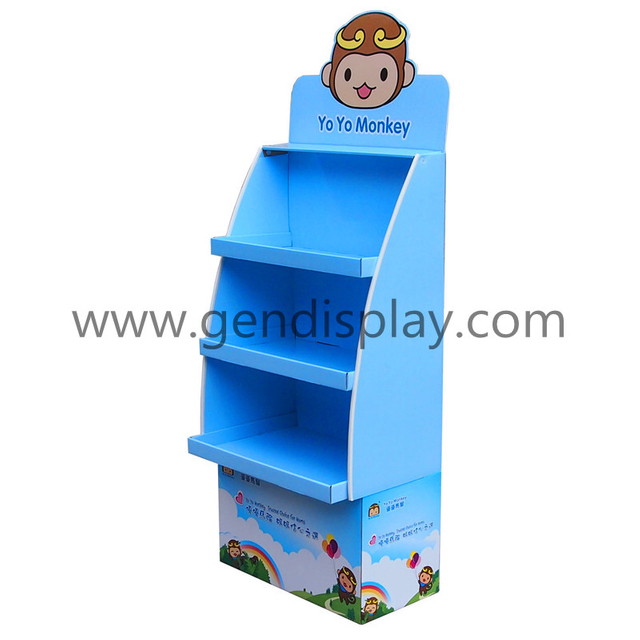 Supermarket Cardboard Baby Bottle Floor Display Stand Shelf (GEN-FD272)
