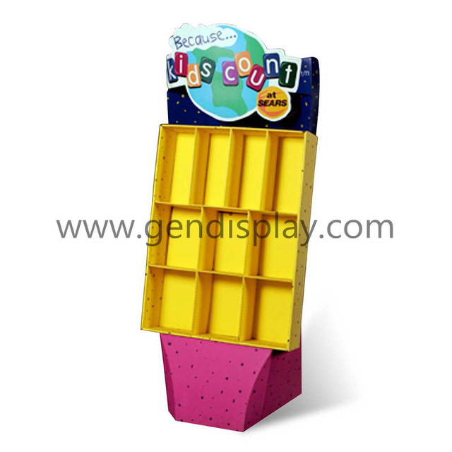 Retail Cardboard Floor Display With Pockets For Toys Promotion(GEN-CP069)
