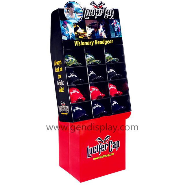 Retail Pos Cardboard Pockets Display Stand For Caps Promotion(GEN-CP239)